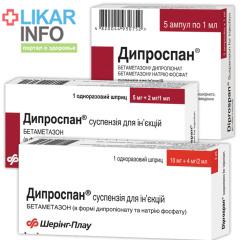 Дипроспан (Дипроспан, Diprospan) инструкция по пременению