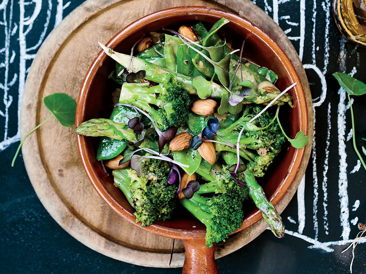 Green Vegetables with Dukka and Tahini Dressing
