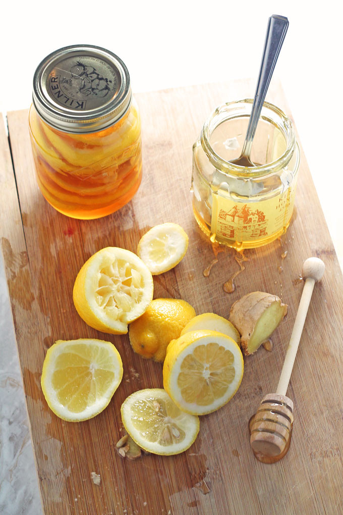 lemon, water honey