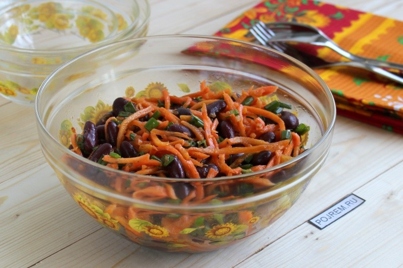 Салат из фасоли моркови с сухариками рецепт с очень вкусный