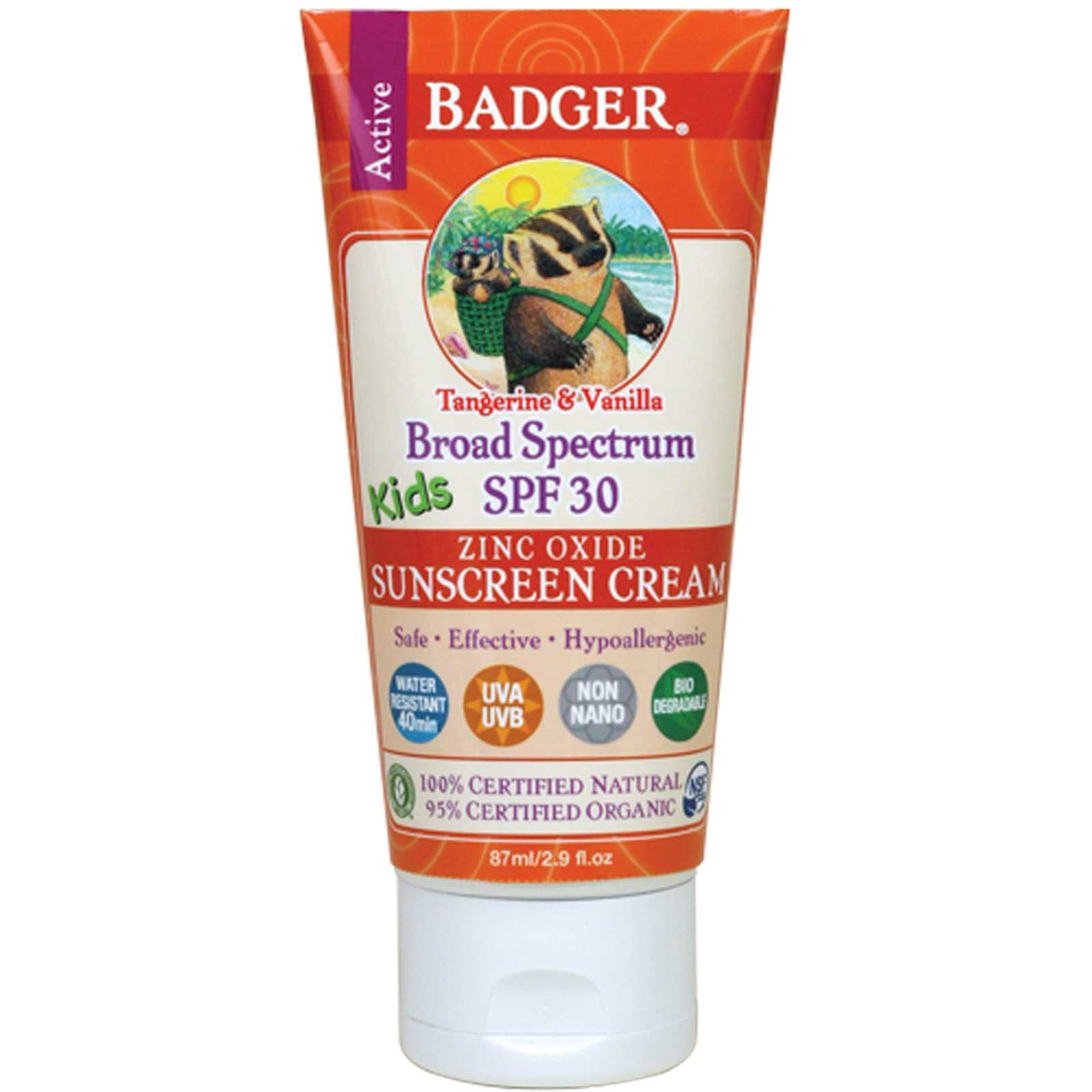 Badger Comapany Tangerine & Vanilla Sunscreen Cream SPF 30
